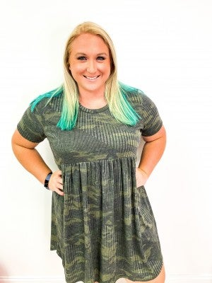 Ribbed Camo Baby Doll Plus Dress