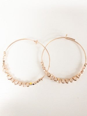 Tiny Rock Rose Gold Hoops