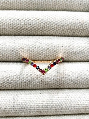 Multi Colored Gold Sparkle Ring
