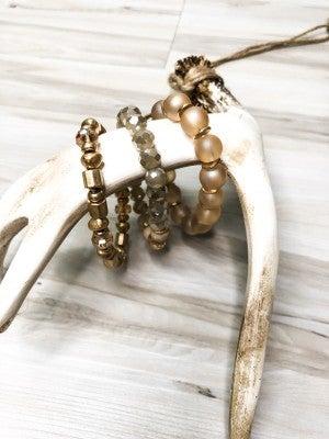 Rosy Beaded Layered Bracelet