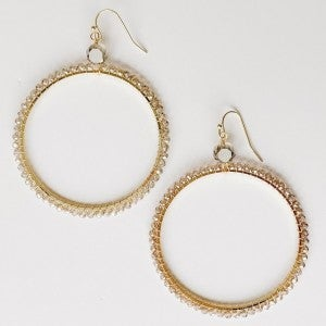 Detailed Stone Gold Hoops