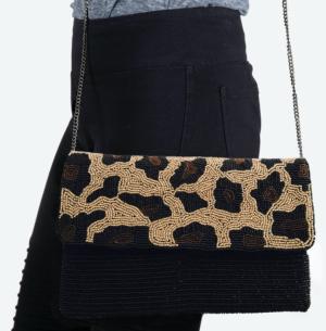 Beaded Leopard Clutch