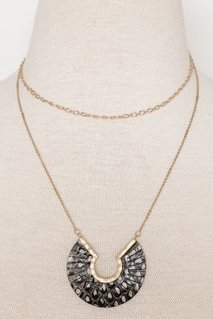 Gold Leather Pendant Necklace