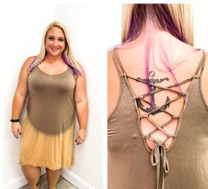 Tie Dye Criss Cross Plus Dress