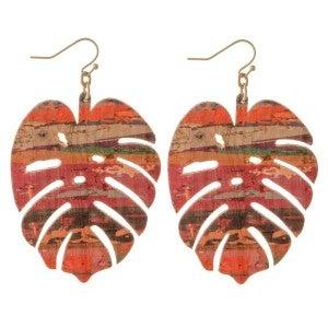 Serape Cork Palm Leaf Statement Earrings