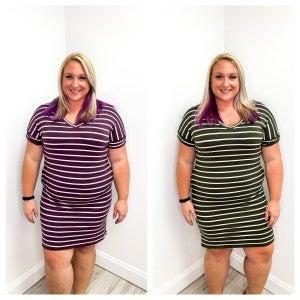 Striped V Neck T Shirt Dress