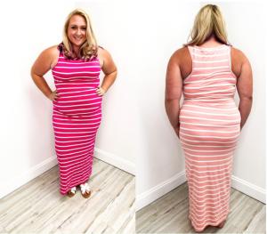 Plus Body Con Striped Dress