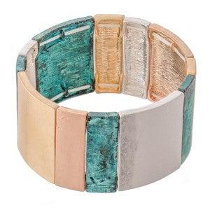 Patina Multi Tone Tile Statement Stretch Bracelet