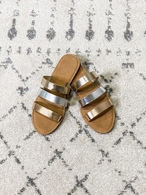 {Metallic Strips Sandals}