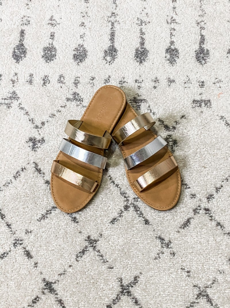 {Metallic Strips Sandals}