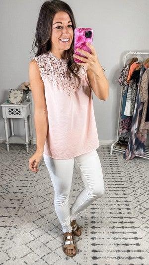 {Crochet Lace Blush Tank}