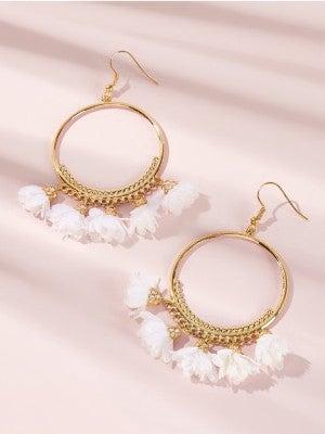 {Gold Hoop Flower Dangles} *Final Sale*