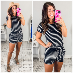 {Black Striped Relaxed Romper|