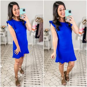 {Blue Ruffled Knit Dress}