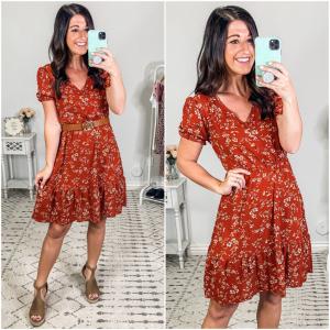 {Red Flower Mid Dress}