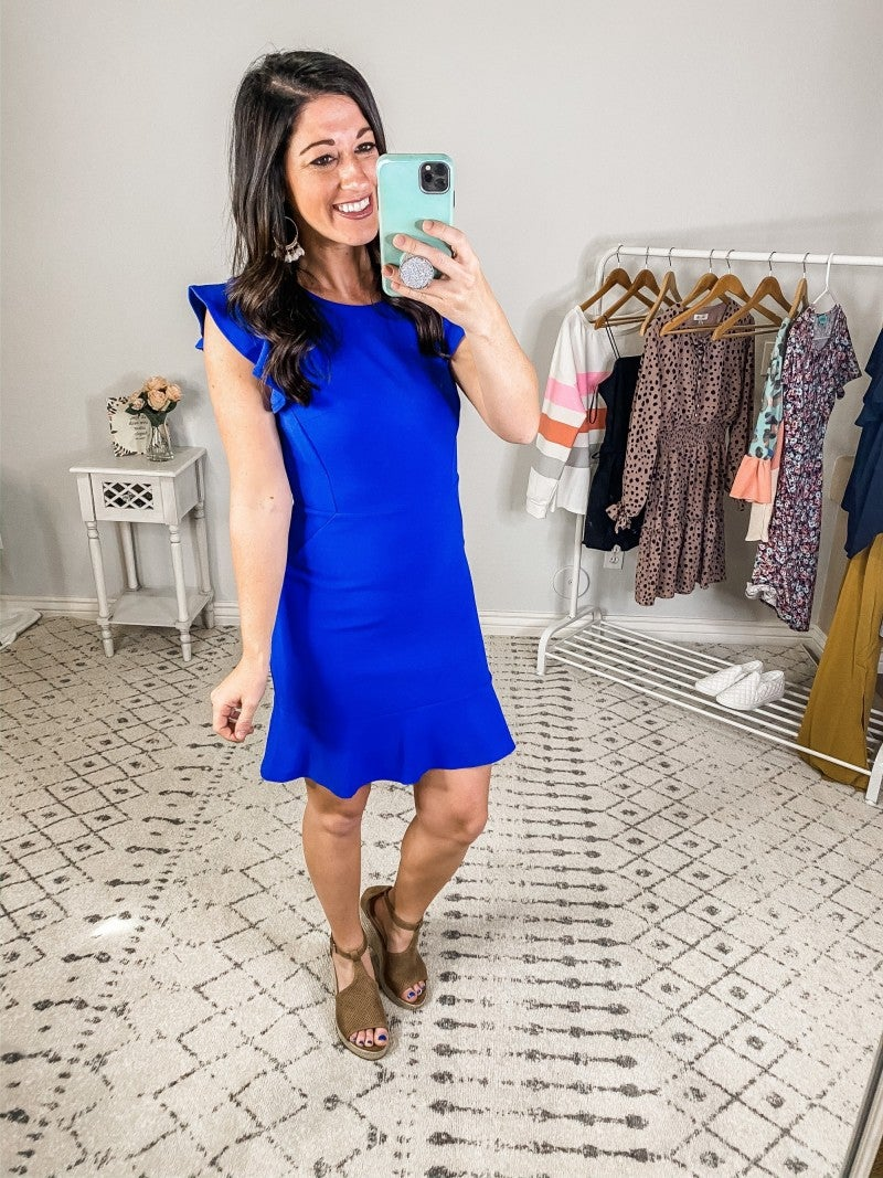 {Blue Ruffled Knit Dress}