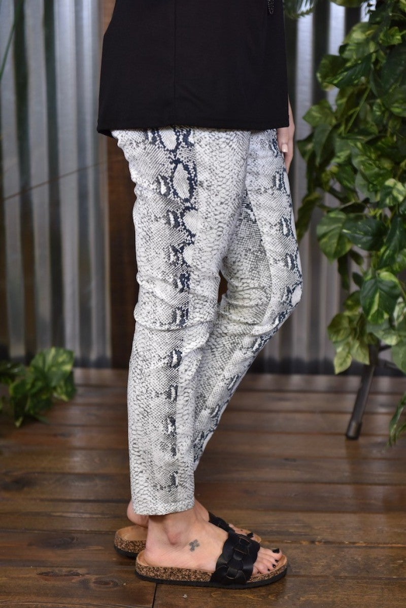Royalty Grey Snake Ankle Jeans