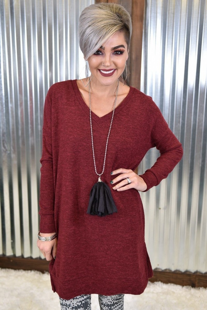 Burgundy L/S Melange Sweater