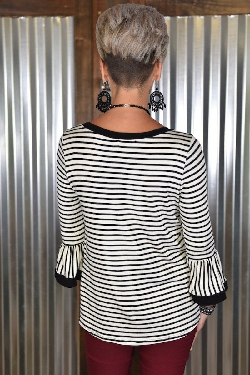 White Striped Bell Sleeve Top