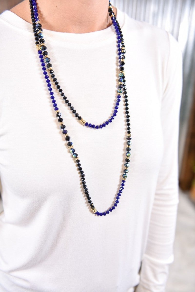 Black Shimmering Beaded Necklace