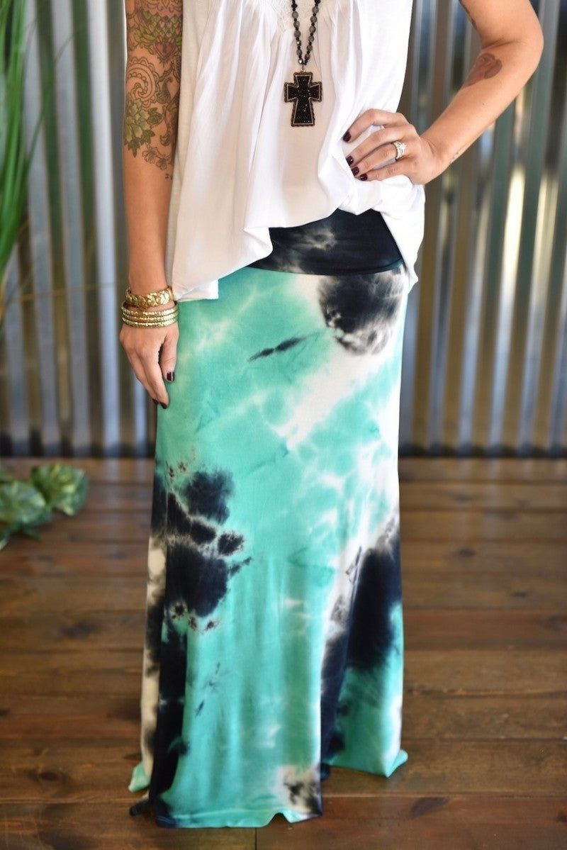 Green Tye Dye Maxi Skirt