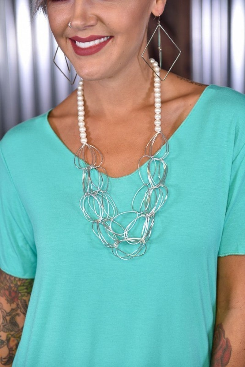 Pearl & Silver Chain Necklace
