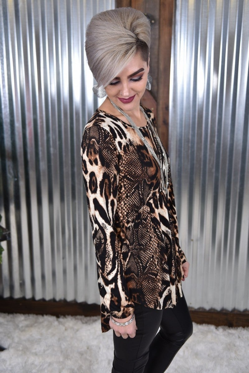 Snake & Leopard L/S Empire Tunic