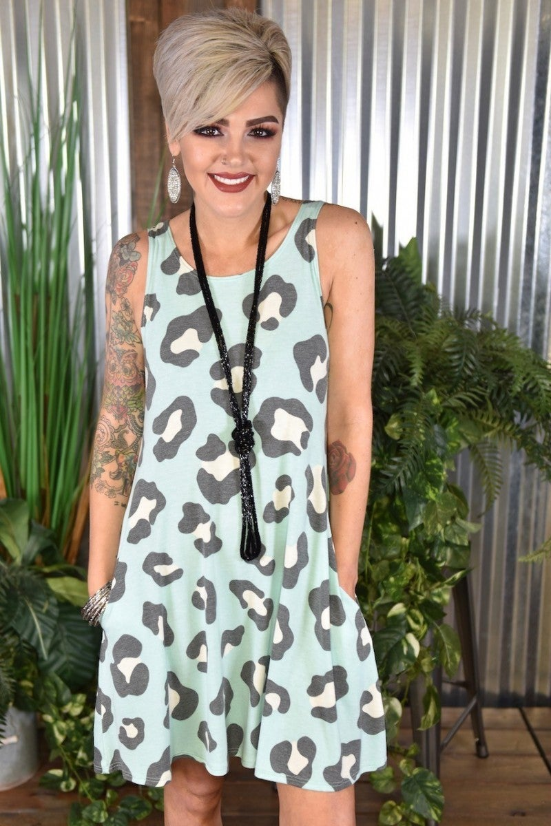 CLEARANCE Mint Animal Tank Dress with Pockets