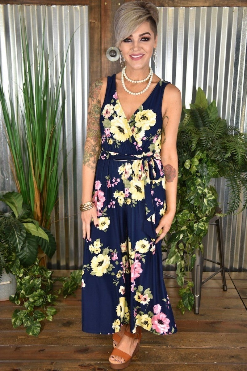 Navy Floral Wrap Jumpsuit