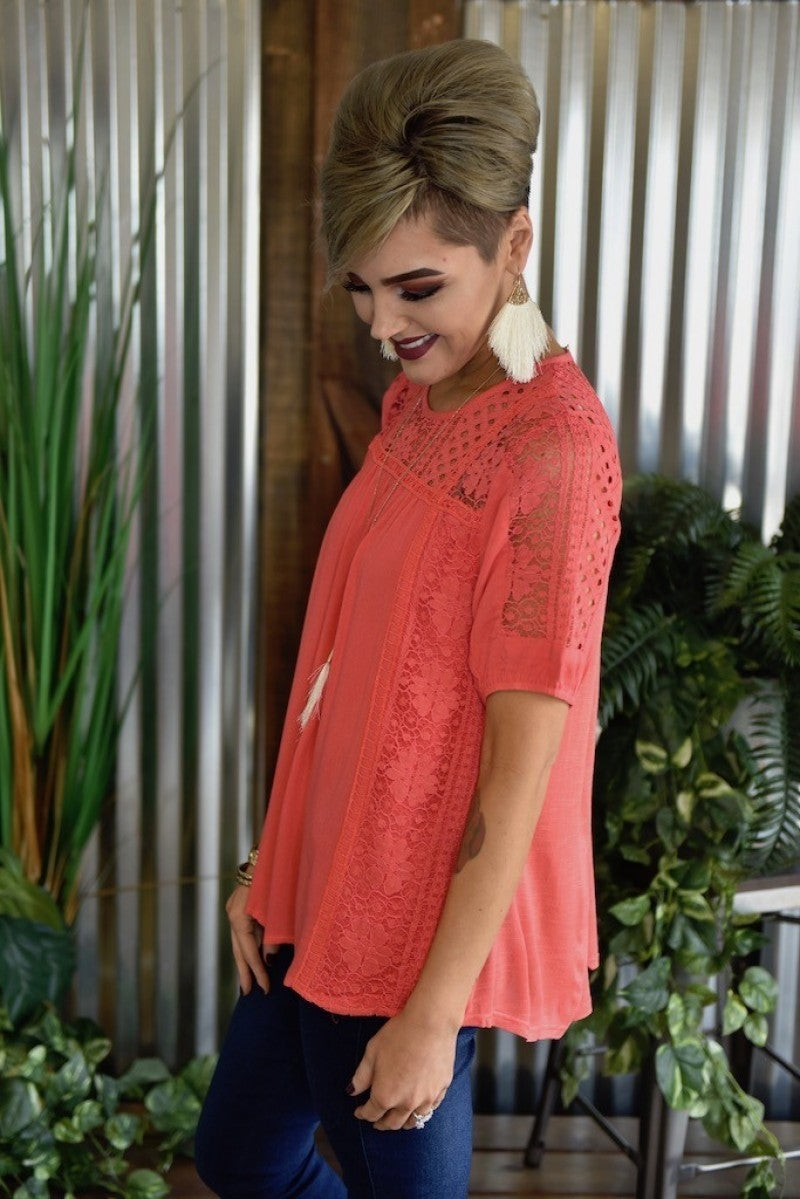 CLEARANCE S/S Knit Lace Top