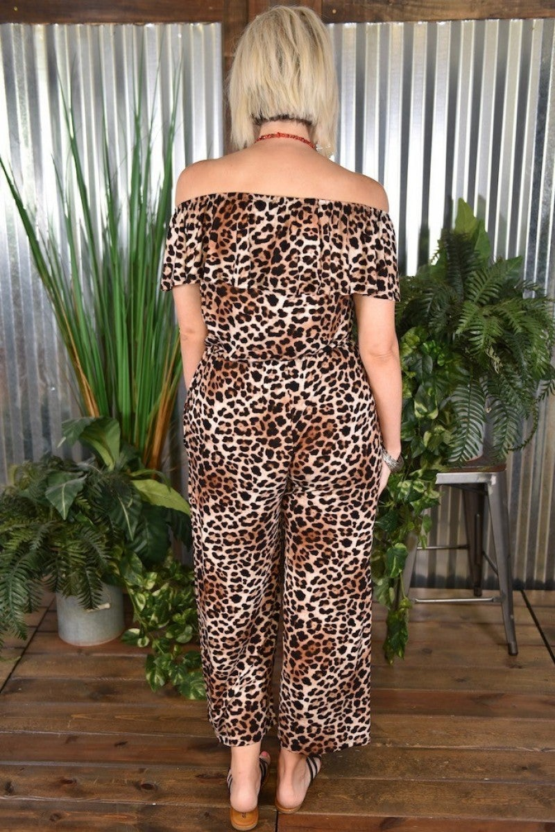 CLEARANCE Off the Shoulder Cheetah Jumpsuit