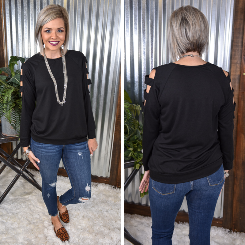 Black Cut Out L/S Top