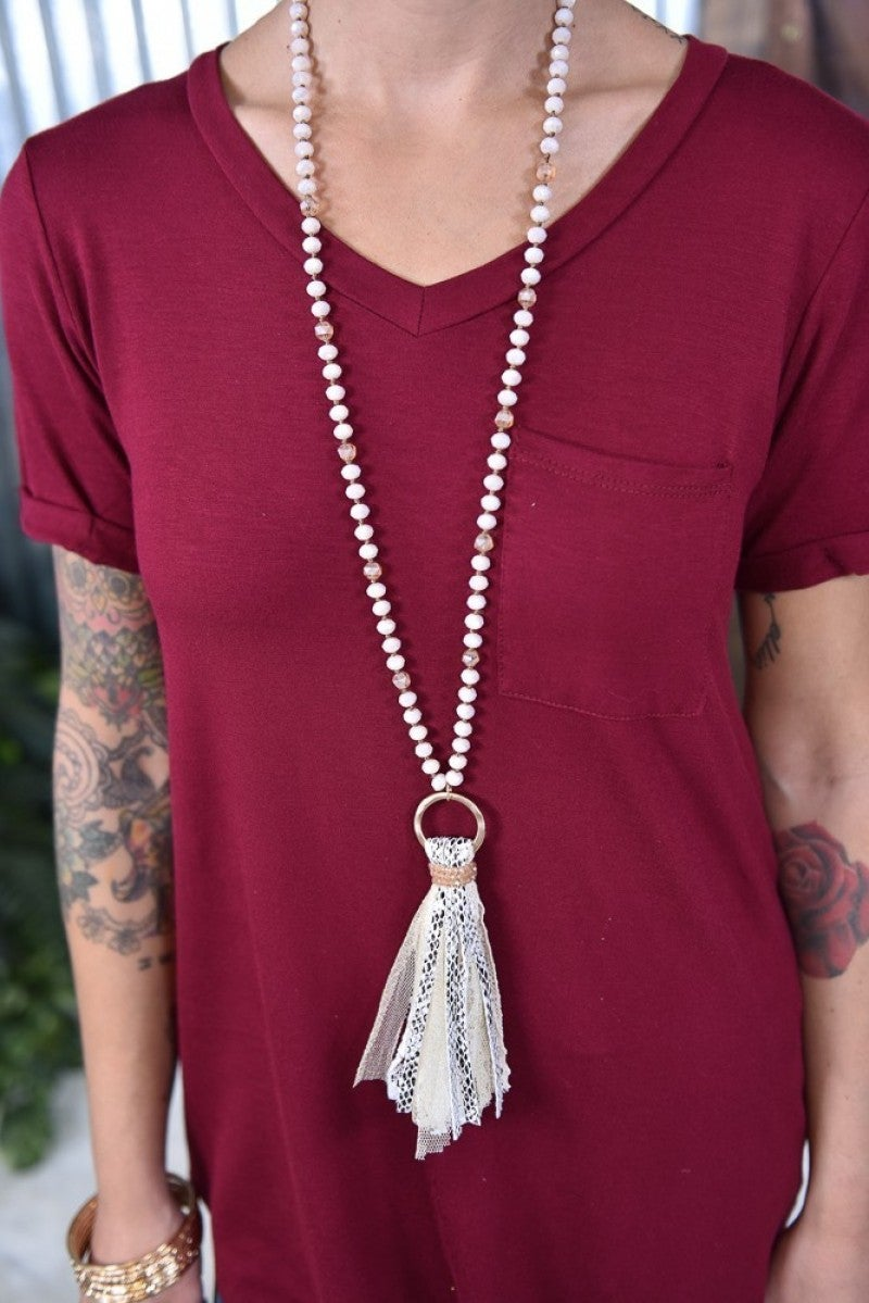 White You're a Charmer Tassel Necklace