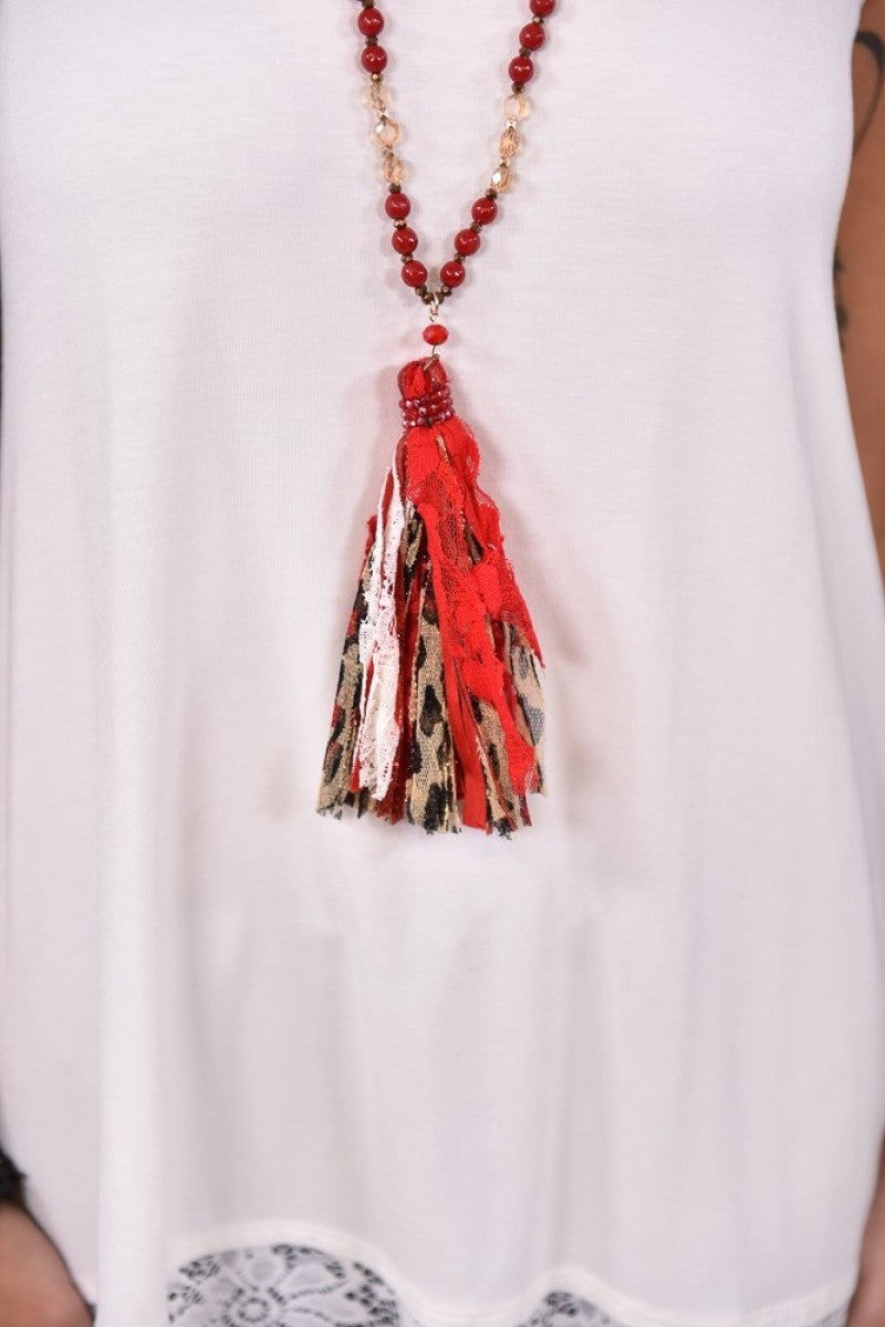 Red Leopard Fabric Tassel Necklace