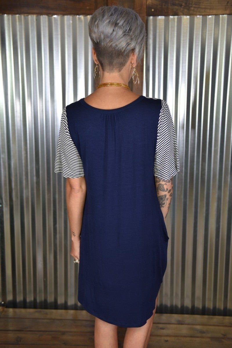 Navy Stripes & Crochet Dress