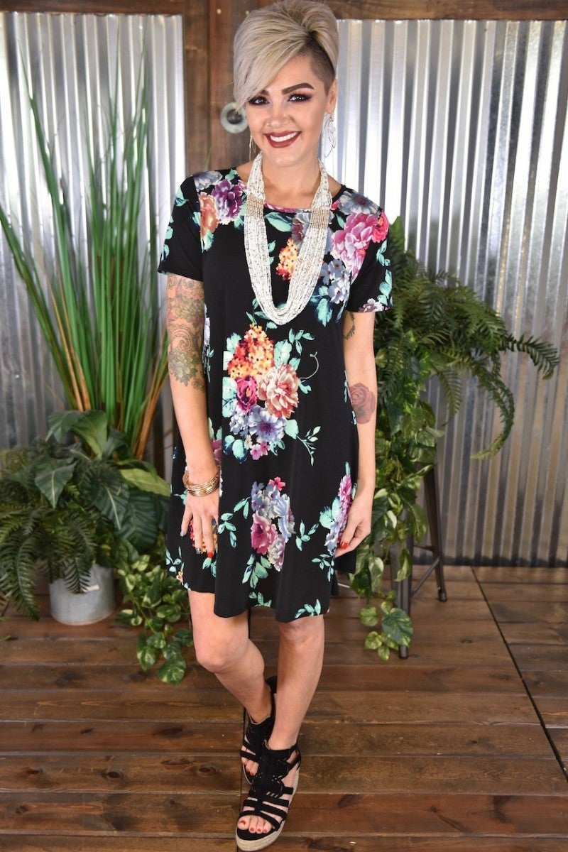 CLEARANCE Black Floral Pocket Dress