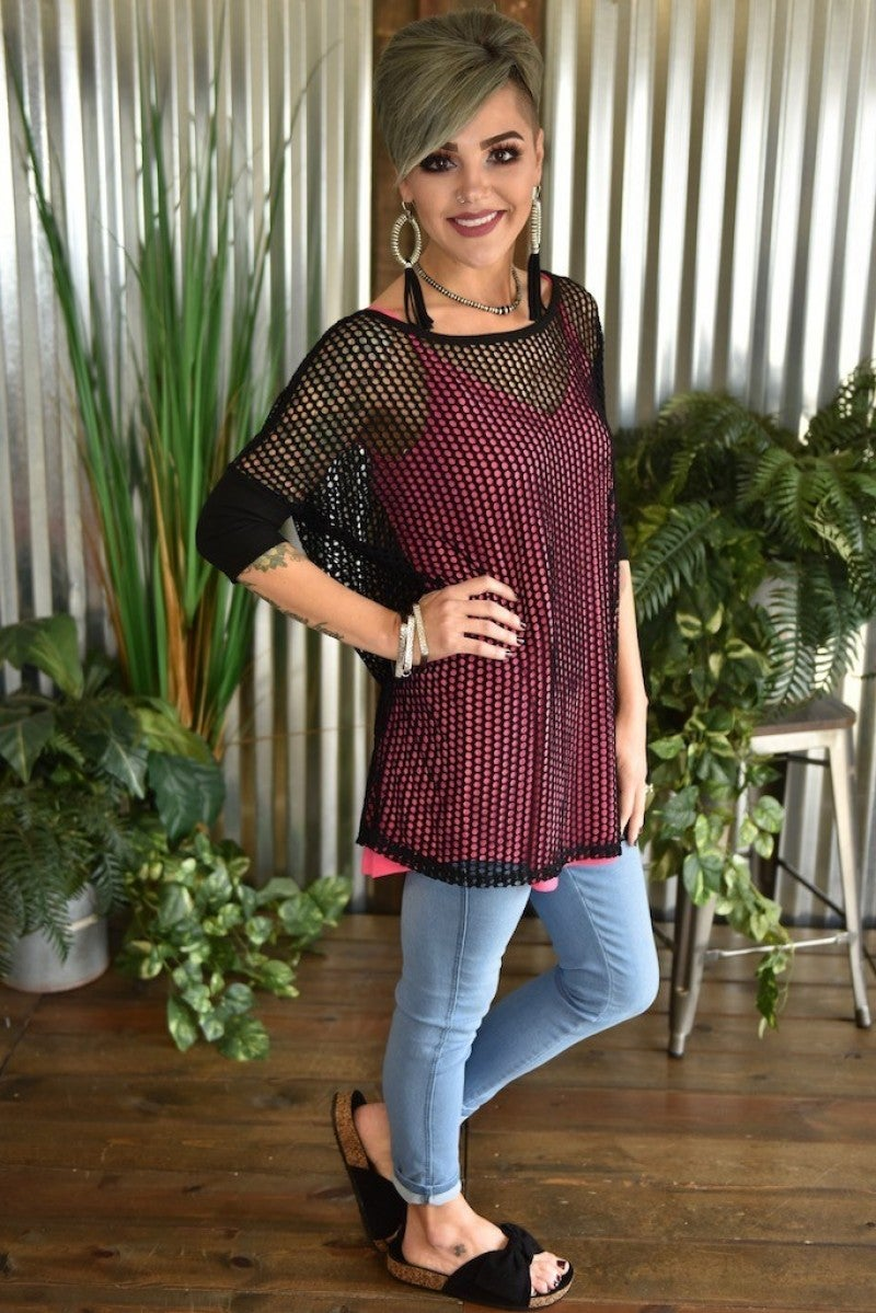 3/4 Sleeve Netted Top