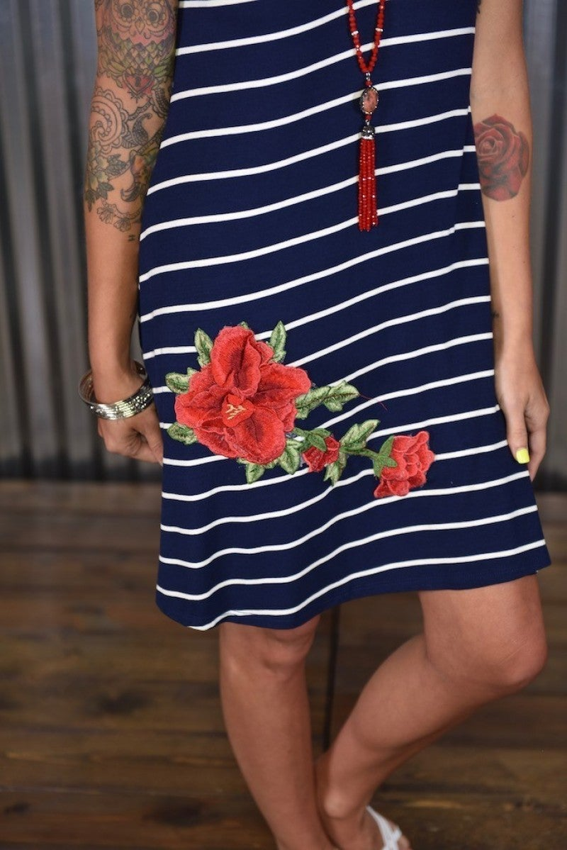 Navy Striped Embroidered Dress