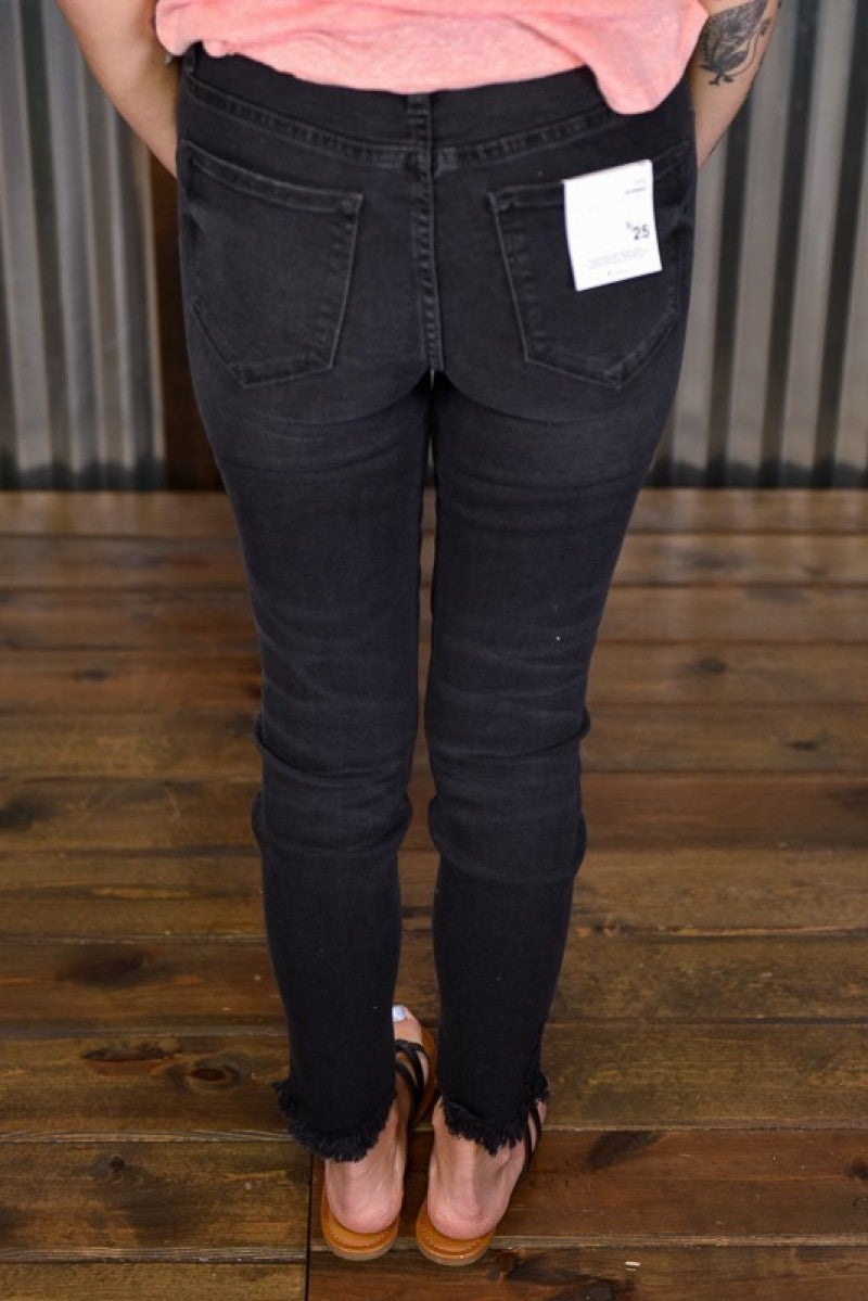 Kan Can Black Destroyed Ankle Jeans