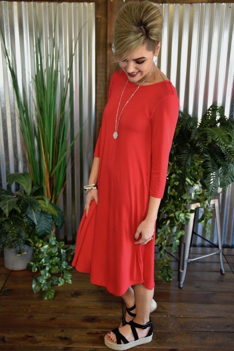 Ruby 3/4 Sleeve Basic Dress