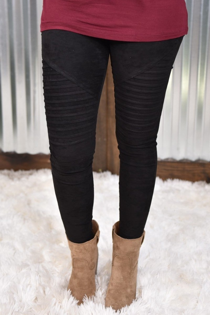 Black Suede Moto Leggings