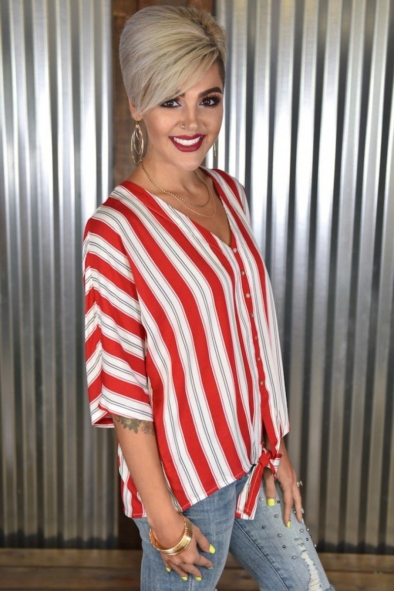 Red Striped Woven Front Tie Top