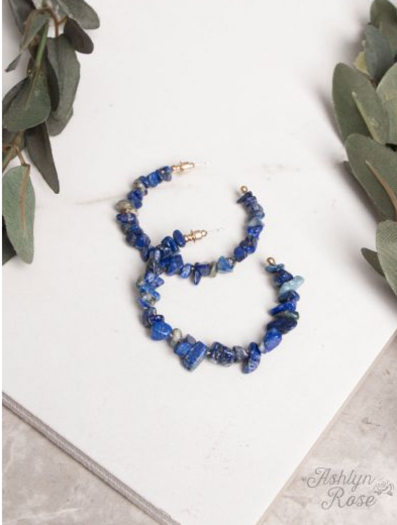 Deep Blue Rock Steady Stone Hoop Earrings