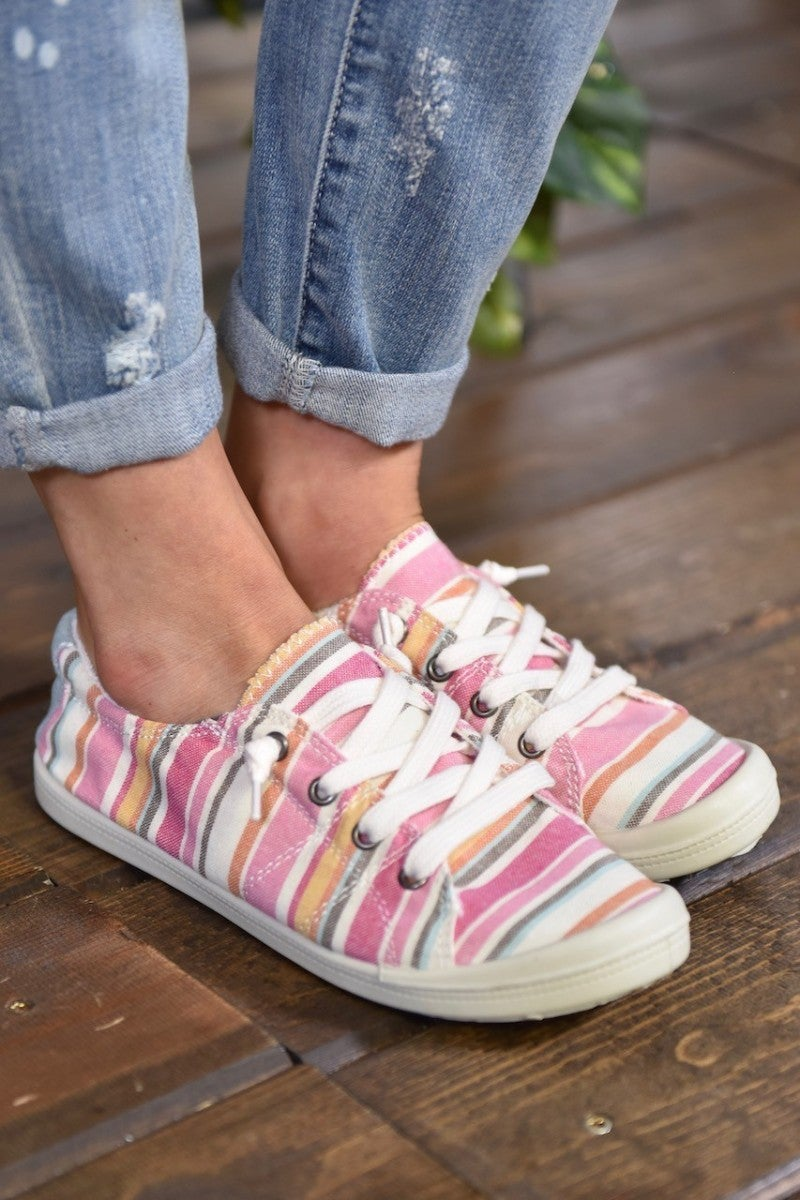 Pink Multi Canvas Sneakers