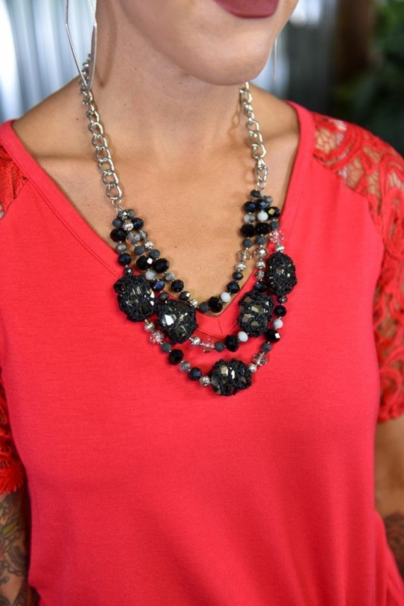 Black & Silver Chunky Beaded Short Necklace