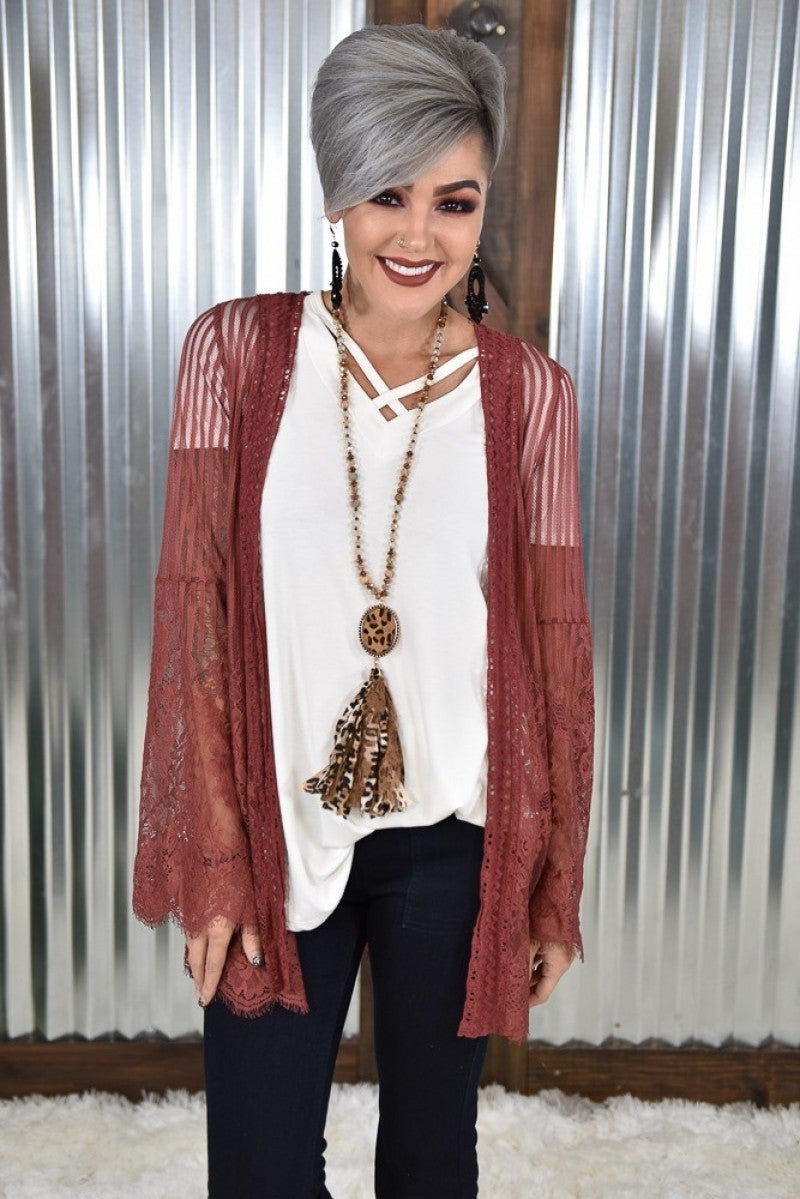 Red Brown Country Chic Lace Kimono