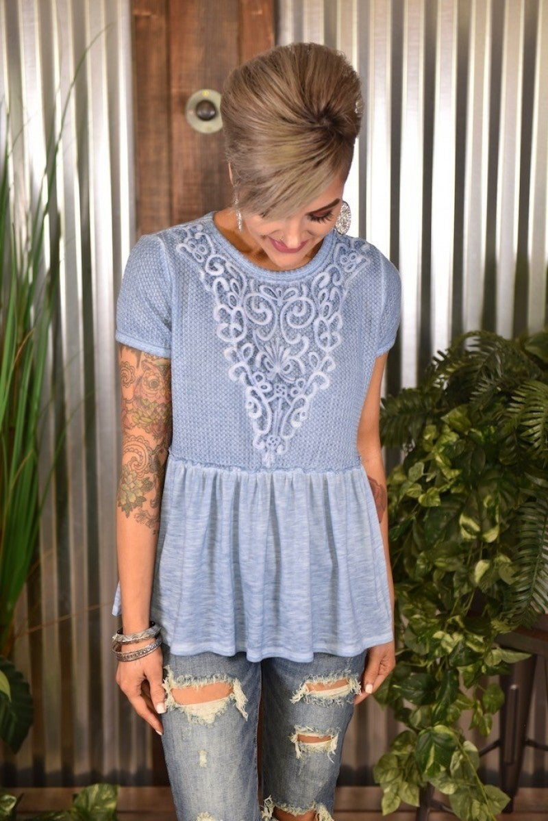 Blue S/S Lace Knit Top