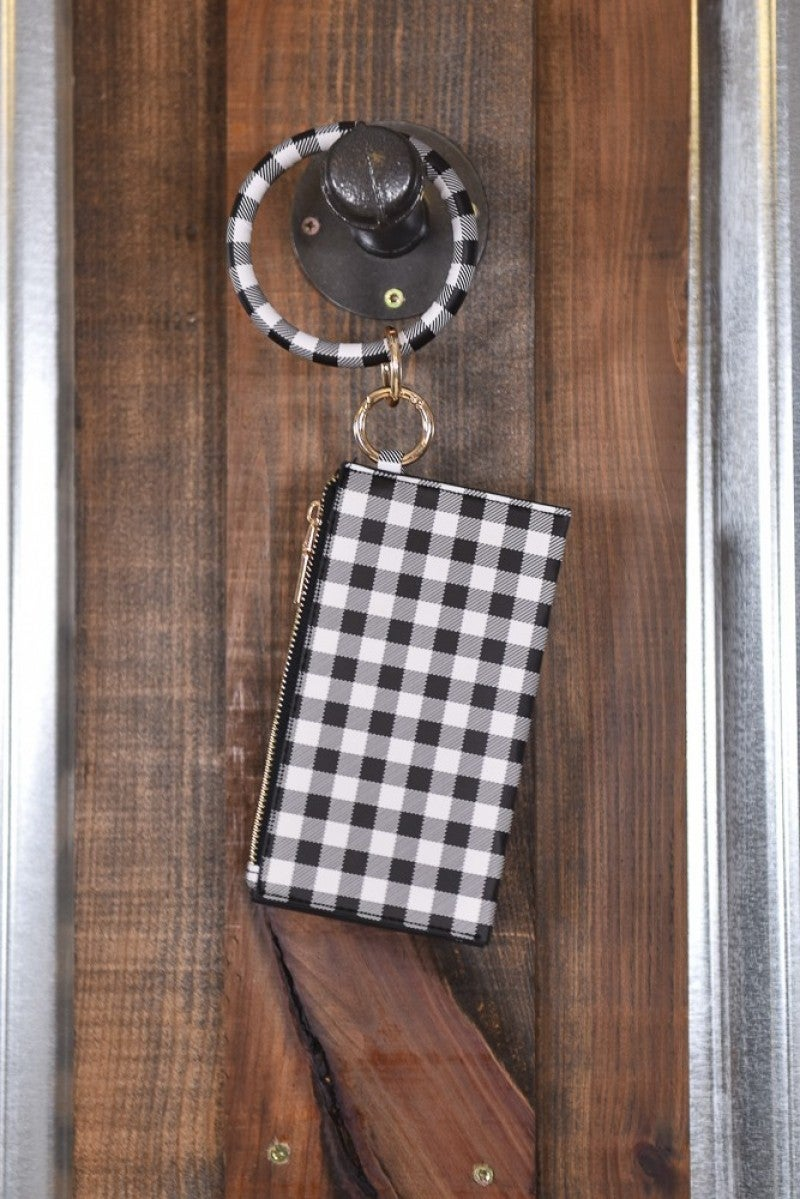 White Buffalo Plaid Key Ring Clutch