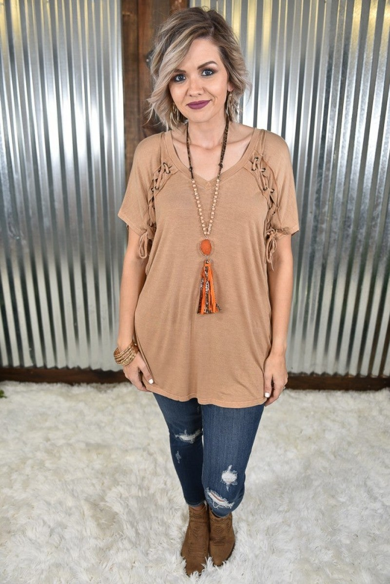 Cinnamon Laced Up Washed Tee