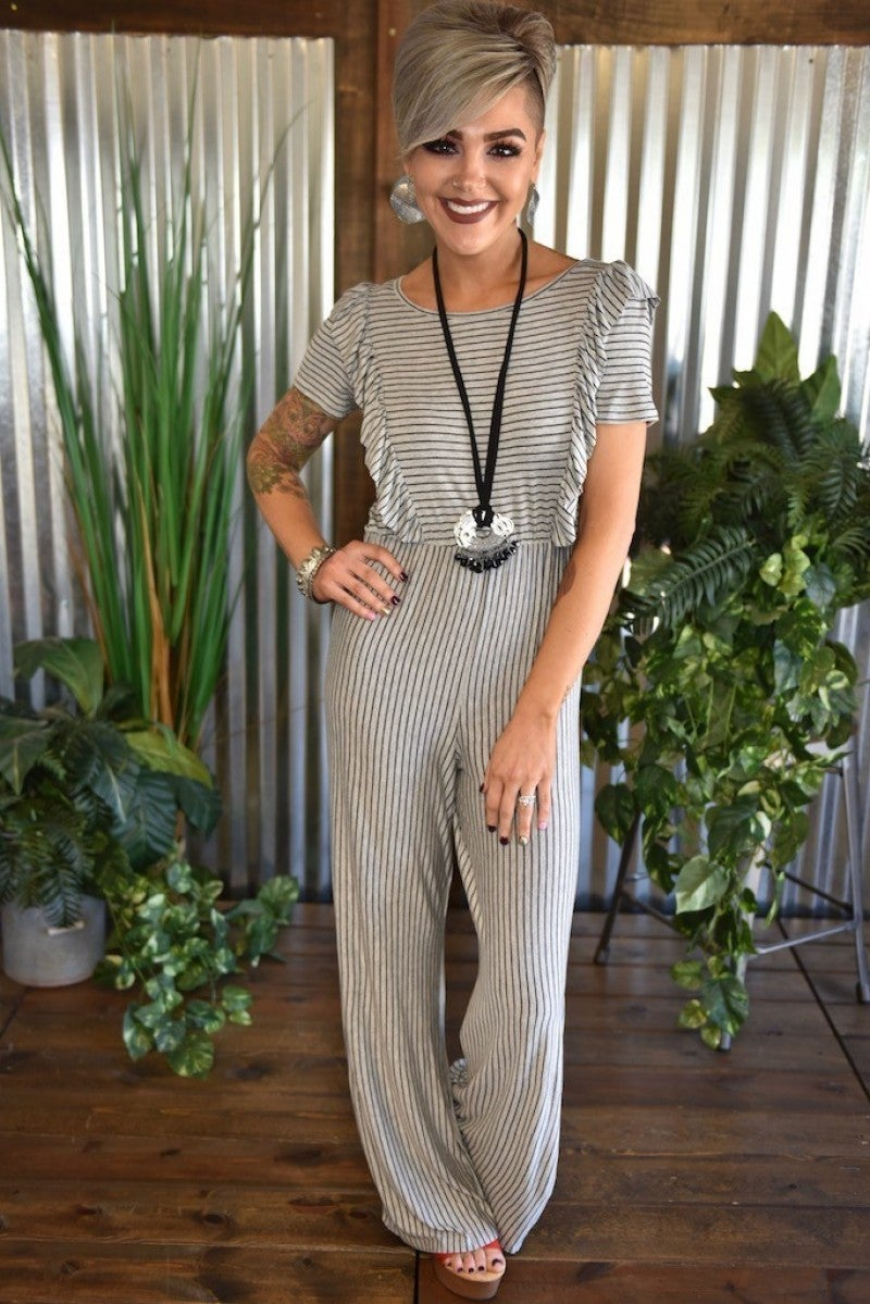CLEARANCE Front Ruffle Striped Jumpsuit